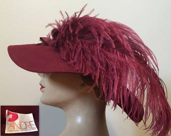 Vintage late 60s Wide Brim Felt Hat 22 with Ostrich Feather Burgundy