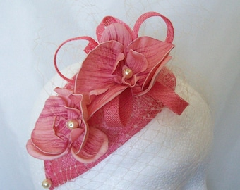 Coral & Cream Veil Sinamay Loop Orchid Flower and Pearl Teardrop 'Charlotte' Wedding Fascinator Mini Hat - Custom Made to Order