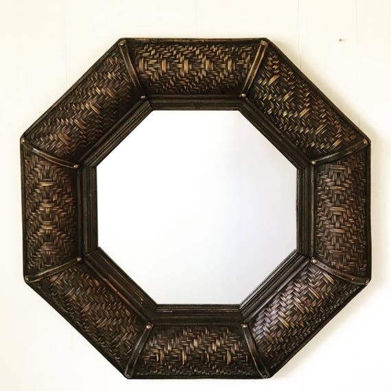 large rattan wall mirror - octagon woven bamboo - wicker wall mirror - entry hall bathroom - chocolate brown