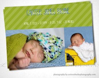 Stripe Band SImple Birth Announcement - Green - DIY Printable