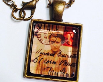 Postage Stamp Necklace, Glass Photo Pendant, Picture Necklace, Postage Stamp Jewelry