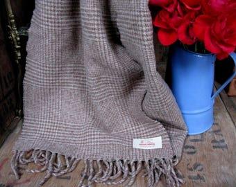 Highlands Scarf, Beige Scarf, Checked Scarf, Vintage Scarf, Pure Wool Scarf, Plaid Scarf, Scottish Scarf, Lambswool Scarf, Check Scarf