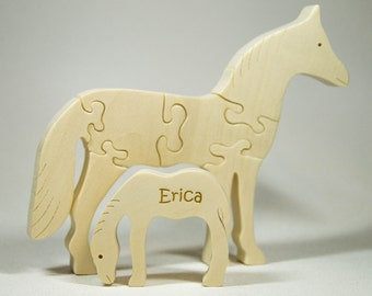 Wooden Horse Puzzle, Wooden Horse Toy, Horse Puzzle, Horse Toy, Personalized Toy, Personalized Puzzle, Organic Montessori Toy