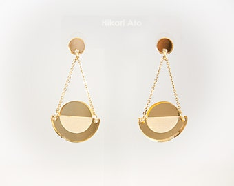 Gold Mirror Acrylic Geometric Drop Earrings
