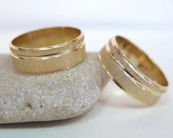 14k Wedding Band - Wedding Ring - Gold Wedding Ring - Solid Gold Ring - Gold Wedding Band - Rough Gold Ring - Womans Gold Ring - 14k Ring
