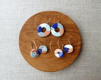 Tube Hoop Earrings in Indigo and Persimmon
