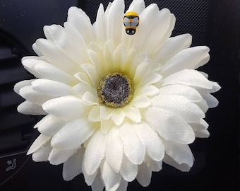 Off White Sparkly Gerbera Dash Daisy Flower With Wooden Bee Ladybug Snowflake or Your Initial VW Beetle