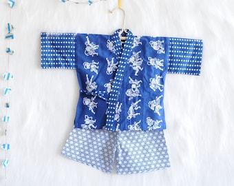 BABY KIDS KIMONO jinbei 90-100cm    Japanese casual kimono    sumo + blue    summer resort shirt + pants, baby gift    hand-dyed cotton