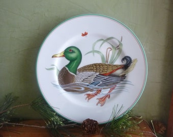 Vintage Fitz and Floyd, Inc. Canard Sauvage Mallard Duck Decorative Salad Plate, Mallard Duck Plate   (T)