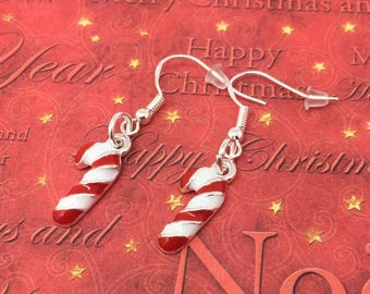 Christmas Earrings, Candy cane earrings, Christmas theme gift, secret Santa gift, Christmas stocking, Xmas gift ideas