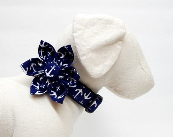 Dog Collar and Collar Flower Combo - Anchors Aweigh - Navyby Pacific Pooch