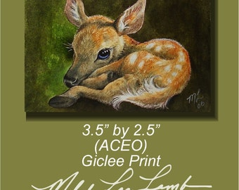 Baby Deer Miniature Art by Melody Lea Lamb ACEO Print
