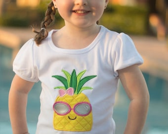 Pineapple- Pineapple Shirt- Embroidery Shirt- First Birthday Shirt- pineapple appliqué-Pineapple headband- Pineapple Outfit- Pineapple Skirt