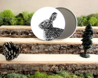 "Rabbit Pocket Mirror - Cottontail Rabbit Bunny Gift - Animal Pocket Mirror 3.5"" - Large Make Up Mirror - Gift under 10 dollars Girl Gift"