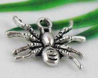 set of 5 Silver spider charm 18 mm x 14 mm