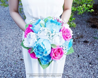 Handmade crepe paper flower bouquet, paper flowers, wedding bouquet, bridesmaid bouquet,  decoration, Summer, Spring, bridal bouquet