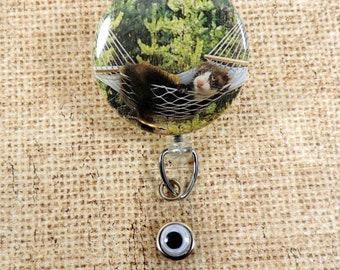 Cutest Ferret Lying in a Hammock, Resting Retractable Badge Reel, Polecat Badge Reel, Field animal Badge Reel, Weasle like Animal Badge Reel