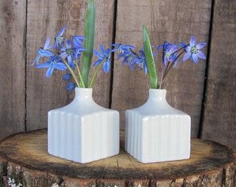 "Pair of Small Porcelain Vases; White Porcelain Vases; ~2"" SMALL Cube Vases; Two Mini Vases; Ribbed Vases; Vintage Pottery"
