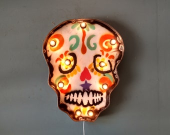 Sugar Skull light up - vintage style marquee sign -