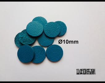* ¤ 10 round leather color blue duck - 10mm diameter ¤ * #C42