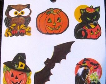 SALE Halloween Vintage Eureka Sticker Sheet - 80's Bat Owl Pumpkin Jack O Lantern Witch Cat
