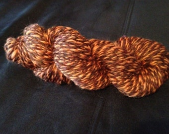 Handspun Wool Yarn, 2-ply, Brown/Pumpkin, Heavy Worsted, Approx 65 Yards