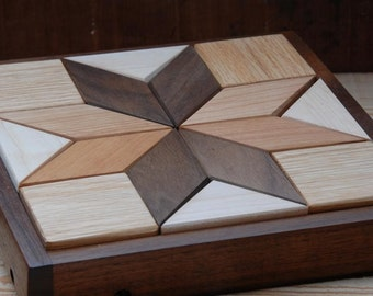 Hardwood Geometric Quilter's Small Puzzle