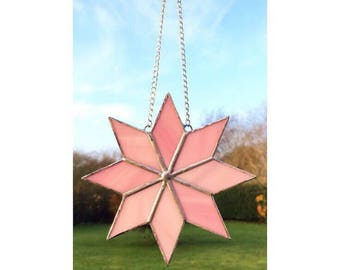 Stained glass pink star suncatcher