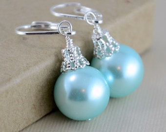 Aqua Earrings, Large Glass Pearls, Christmas Balls, Silver Plated Lever Earwires, Fun Holiday Jewelry