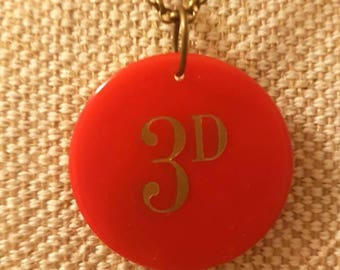 Three penny vintage red poker chip necklace | bronze tone chain | 3d denomination poker chip