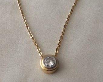 Vintage Diamond Pendant 18K Gold 0.52 Ct., Round Diamond Circa 1970