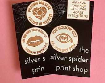 """Collection of Four Emo Pins Hard Enamel Lapel Pin - 1.25"""" emo lyrics, lips white Rose Gold"""