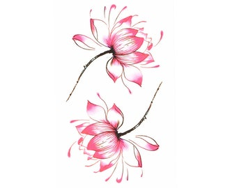 2pc flower print temporary tattoo sticker-10513x2