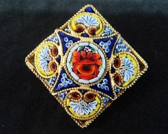 Vintage Micro Mosaic Brooch... c.1950s... Diamond Shape
