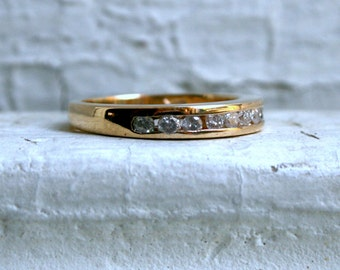 Vintage Channel 14K Yellow Gold Diamond Wedding Band - 0.30ct