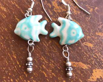 Angel Fish with Sterling Silver Bubbles