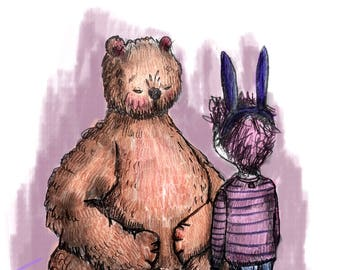 Bear in bear, etsy, illustration with crayon, digital illustration and child rabbit