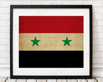 Syria Flag Print, Syrian Flag Art, Syria Gifts, Flag Poster, Moving Gift, Vintage Flag Wall Art, Syria Art, Syrian Gifts, Syrian Art