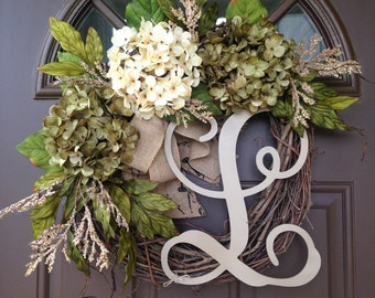 Year Round Hydrangea Wreath for Front Door - Monogrammed Wreath - Grapevine Wreath with Initial - Front Door Wreath - Monogram Wreath - Gift