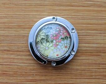 Metal Purse Hanger - Foldable Purse Hook - Yuzen/Chiyogami - Handmade - Flower Bouquet
