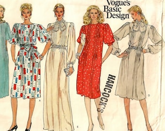 "A Tucked Bodice, Flared Pullover Dress Pattern w/Sleeve, Neckband & Length Variations for Women: Uncut - Size 16, Bust 38"" • Vogue 1163"