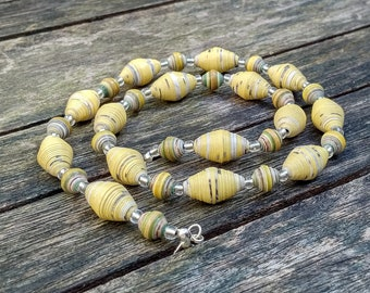 Handmade necklace with yellow - grey - black recycled paper and silver glass beads