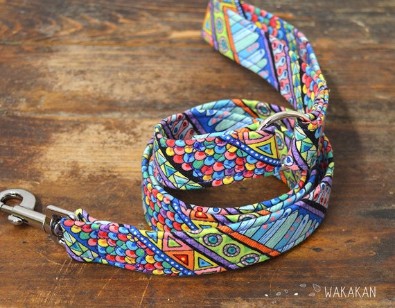 Leash for dog model Boho. Handmade with 100% cotton fabric and webbing. Two width available. Wakakan