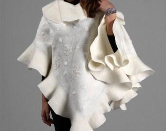 Felt Felted shawl - Bridal shawl - Elegant white Wavy Ruffle scarf - 2 in 1 Two side wearable