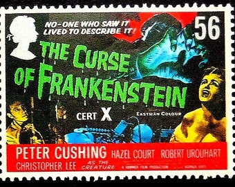 The Curse Of Frankenstein Peter Cushing -Handmade Framed Postage Stamp Art 17015