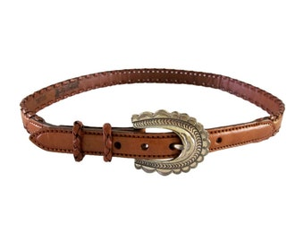 Vintage Justin Western Leather Belt with Stamped Silver Buckle size 30