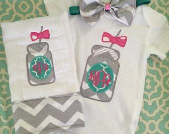 Mason jar monogram baby gift set: onesie, burp cloth, and matching bow