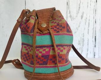 Vintage Boho Tapestry Bag, Bucket Bag, Hobo Bag,