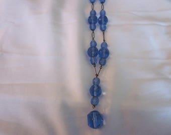 Vintage Art Deco Blue Glass Czech Necklace