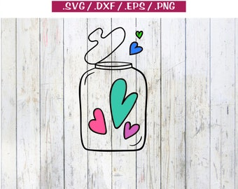Jar of hearts broken heart everlasting love wedding anniversary party - svg dxf eps png cut print clipart cricut silhouette cuttable file